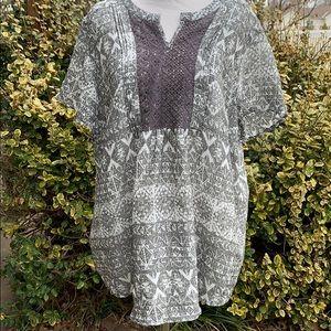 COMO Vintage boho cap sleeve lace front tunic XL